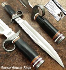 IMPACT CUTLERY RARE CUSTOM D2 BOWIE KNIFE BULL HORN HANDLE, DAMASCUS GUARD