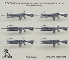 Live Resin 1/35 US Army M16A4 MWS Rifle w/M203A1 40mm Grenade Launcher #LRE35033