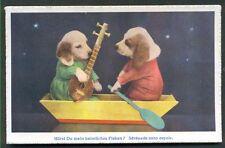 DRESSED DOGS/PUPPIES IN A WOODEN BOAT - 'SERENADE SANS ESPOIR' -SWISS POSTCARD