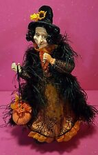 "HIGH-END 25"" CURLY-HAIRED WITCH WITH GOURDS SOFT SCULPTURE POSEABLE DOLL EUC"