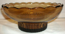 E O Brody Co USA Nut Brown Glass Scalloped #M2000 Console Bowl Candy Dish