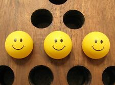Nostalgic Smiley Face Happy Face Yellow Ping Pong Balls - Set of 3 - Size 40mm