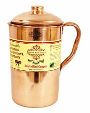 Handmade Pure Copper Jug Pitcher With Lid storage drinking Water Yoga Ayurveda