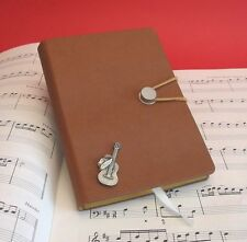 Acoustic Guitar & Hat Pewter Motif A6 Note Book Lined Pages Country Music Gift