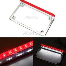 Silver LED License Plate Frame W/ Brake Light for Harley Road Glide King Custom