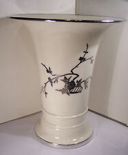 RARE SUPERB BIG ANTIQUE VASE AMERICAN BELLEEK LENOX  STERLING OVERLAY CHINESE