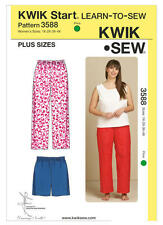 Kwik Sew 3588 Paper Sewing Pattern Women's 1X-4X Learn to Sew Sleep Pants Shorts