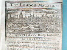 1760 news magazine w detailed front page engraving of LONDON England 250 yrs old