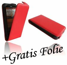 Screen Film + Flip Case Cover Chic for HTC Desire X in red