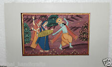 Vintage Hand Made Water Color Folk Art Painting Miniature  of lord krishna