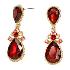 Red gold tone earrings long dangly crystal diamante prom party evening 0245