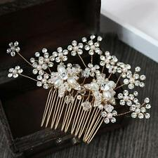 Gold Hair Comb Flora Rhinestone Cluster Headpieces Pearls Wedding Accessories