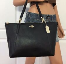 NWT COACH BLACK SIGNATURE LEATHER SHOULDER HANDBAG TOTE BAG PURSE