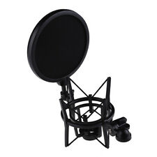 Professional Microphone W Shock Mount Stand Holder With Pop Shield Filter Screen