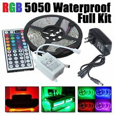 5M RGB 5050 Waterproof LED Strip light SMD 44 Key Remote 12V Power Full Kit