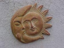"MEXICAN WALL POTTERY SUN MOON HANGING GARDEN DECO LARGE 12"" ACROSS ART PICTURE"