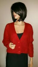 MODA INTERNATIONAL MOHAIR & WOOL CROPPED BAGGY CARDIGAN SOFT FUZZY SWEATER RED M