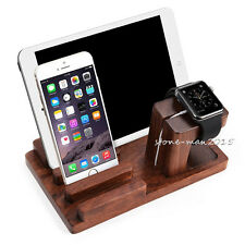 Rosewood Charging Dock Station Stand Holder For Apple Watch iPhone 7 i Pad Air 2