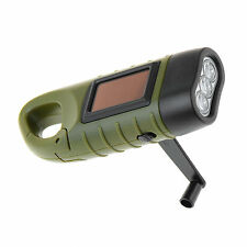 Rechargeable LED Flashlight Hand Crank Dynamo & Solar Powered Torch Outdoor M1BG