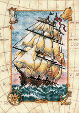 Cross Stitch Kit ~ Gold Collection Voyage At Sea Nautical Map & Ship #6847