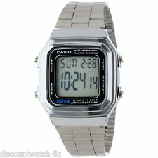 Casio A178WA-1A Mens Silver Stainless Steel Digital Dress Watch Dual Time LED