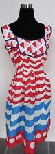 Vintage 1950's Style We Love VERA NEUMANN Red White & Blue Dress Anthropologie L