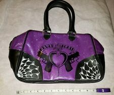 Purple�� Purse bag tote rockabilly cute punk goth whatever awesome carry on��