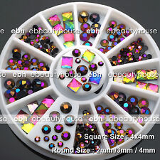 Round Square Nail Art Multicolor Black Illusion Glass Rhinestone +Wheel #EB-133