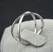 925 Sterling Silver - Size 7 Stylish Hollow 2-Layer Cross Club Open Smooth Ring