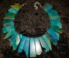 Blue Green Agate Egyptian Bib Collar Statement Necklace CLEOPATRA JEWELRY Royal