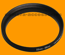 55mm to 58mm 55-58 Stepping Step Up Filter Ring Adapter 55-58mm 55mm-58mm