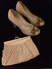 Moda in Pelle Vintage Style Spotty Beige And Cream Peep Toe Shoes And Bag UK 5