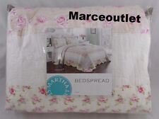 Martha Stewart Emmeline QUEEN Embroidered Bedspread White / Pink