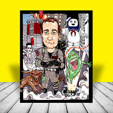 DR. VENKMAN in uniform & proton pack artist signed GHOSTBUSTERS ART, bill murray