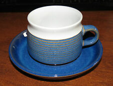7 DENBY Chatsworth Blue/white Cups & Saucers ENGLAND MINT!