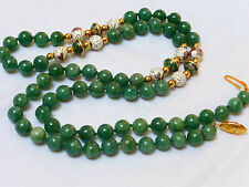 CHINESE VINTAGE GREEN JADE AVENTURINE 8mm BEADS NECKLACE STERLING CLASP, 28""