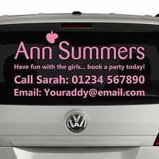 ANN SUMMERS Party planner - Window advert sticker graphic for car Business SI5