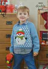 KNITTING PATTERN Childrens Long Sleeve Jumper Christmas Snowman design DK 3805