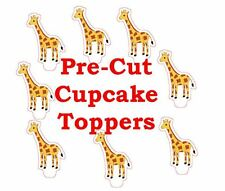 x24 cute giraffe EDIBLE wafer paper stand up cup cake toppers PRE-CUT