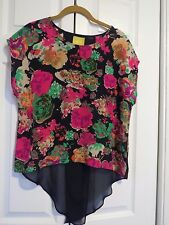 Maeve Anthropologie Floral Blouse 100% Silk Navy Pink Boxy Sz 0 See Measurement