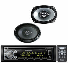 "Pioneer iPod USB CD AUX Bluetooth Car Receiver, 2 6x9"" 3Way Coaxial Speaker Set"