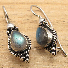 Natural LABRADORITE Gemstone Ethnic Tribal Jewelry Earrings ! 925 Silver Plated