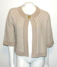 BANANA REPUBLIC~BROWN & WHITE~CROCHET~KNIT~SHRUG BOLERO~PONCHO SWEATER~CAPE~L