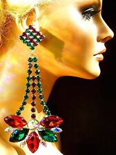 Large Stone Holiday Chandelier Earrings Drag Queen Showgirl Costume Stage