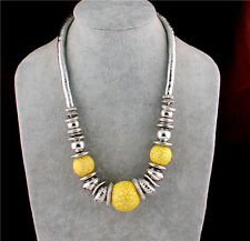 New Tibet Silver Plated Yellow Turquoise Bead Pendant Bib Chunky Necklace Collar
