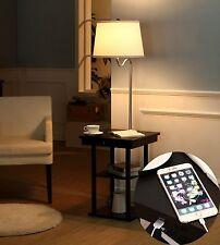 End Table With Lamp Built In Attached With Storage and USB Charging Port Outlet