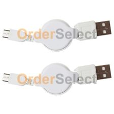 2 USB White Retract Micro Charger Cable for Samsung Rugby 4/LG G4/HTC One M9