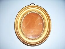 ANTIQUE GEORGIAN MINIATURE GILT HOLLOW PROFILE PICTURE FRAME OLD GLASS C.1810