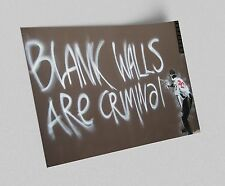 ACEO Banksy Blank Walls Are Criminal Graffiti Street Art Canvas Giclee Print