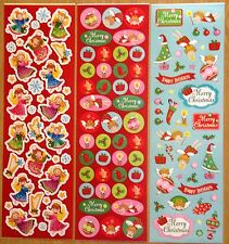 3 sheets Recollections Christmas XMAS Stickers Angels Harp Ornaments RED